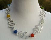 Multicolored recycled aluminum and African recycled bead necklace