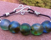 Green, Brown, and Blue Recycled glass and Leather bracelet