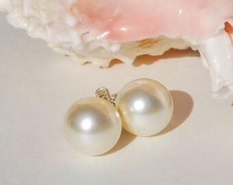 Pearl Stud Earrings Bridal Earrings Swarovski Crystal Pearl Earrings 10mm Large Pearl Earrings Bridesmaid Earrings Wedding Jewelry