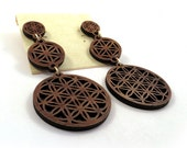 Sustainable Wooden Earrings - Sacred Geometry 3-Part Post Earrings - in Walnut - Flower of Life