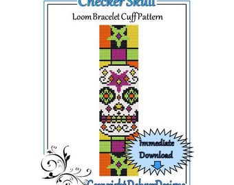 Bead Pattern Loom(Bracelet Cuff)-Checker Skull