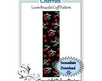 Bead Pattern Loom(Bracelet Cuff)-Cherries