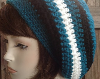 Teal , Black and White Tam hippie Hat Slouchy rasta soft-acrylic