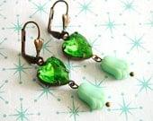Green Earrings, Vintage Green Peridot Hearts, Mint Green Tulips, Art Deco Earrings, Shabby Chic Earrings, Retro Earrings, Retro Jewelry