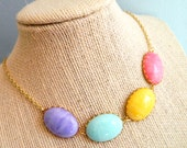 Pastel Necklace, Statement Necklace, Retro Necklace, Purple Aqua, Yellow, Pink, Retro Jewelry, Vintage Jewelry, Shabby Chic, Spring Necklace