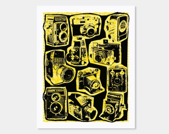Vintage Cameras Art Print Yellow - Hand Printed - 8X10