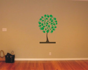 Vinyl Decal, Wall Sticker, Wall Tattoo, Wall Art  - HANDS TREE