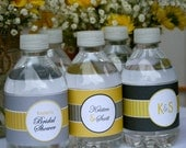 Bridal Shower Water Bottle Wrappers- Yellow and Grey- print your own