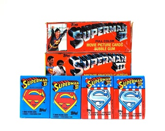 4 Superman Sticker and Trading Card Packs by Topps