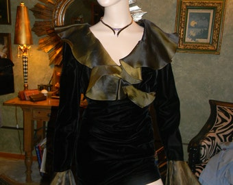 Olivine Silk Chiffon Trim & Black Velveteen wrap Dress. Red Carpet designer.Roland Nivalis DesignerGOWN.PROM Wedding. Formal Event.Black tie