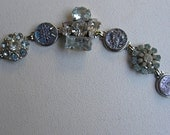 VINTAGE BUTTON BRACELET Rhinestones and czech glass