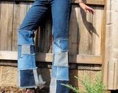 1990s Patchwork Bell Bottoms High Waist Denim Jeans // S / M