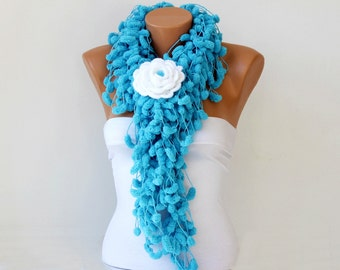 Mulberry scarf scarf  /Pompom scarf /cocoon scarf with removable  crochet brooch