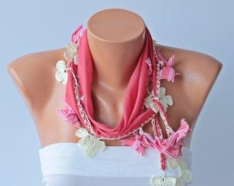 Coral Turkish oya scarf , turkish yemeni /hand crocheted lace border