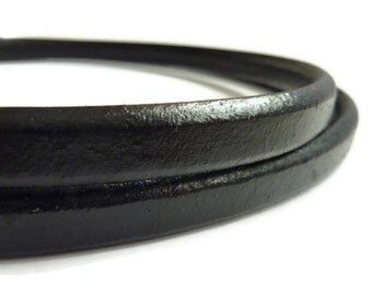 Black licorice Leather Cord licorice leather leather cord thick cord 10 x 5mm S 40 023