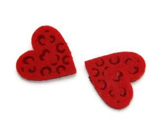 Red felt hearts 9 pcs 3cm- 1.18inch