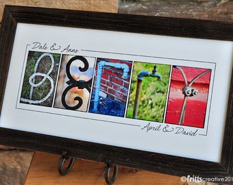 Alphabet Photography Last Name Sign Color Photo Letters 10x20 Print UNFRAMED, wedding gift, anniversary gift