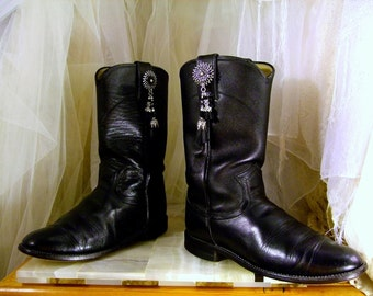 20.00 Off S.A.L.E ... Vintage Black Leather Justin  Knee High Cowboy Boots  USA  Women's Size 5B or EU Size 35... Custom