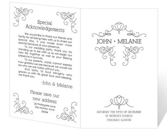 Wedding Program Template Printable - INSTANT DOWNLOAD - Whimsical