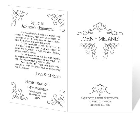 Items similar to Wedding Program Template Printable - INSTANT ...