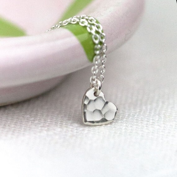 Tiny Silver Heart Necklace / Small Sterling Silver Hammered Heart Charm Necklace