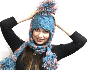 Made to ORDER: Hand Knit Hat, Rapunzel Women Hat, Winter Hat with Long Tresses, blue, orange, Knitted Hat, handknit, Handknitted hat Custom