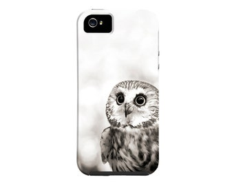Owl iPhone case, cute owl iPhone 6 case, nature, black and white owl, samsung galaxy case saw whet owl, iPhone 5, animal phone case