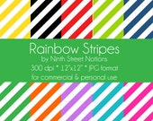 Rainbow Diagonal Stripes Patterned Digital Scrapbook Papers 12x12 - for invitations, blog design, photographers