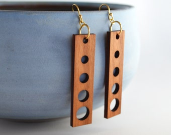 Laser Cut Cherry Wood Earrings