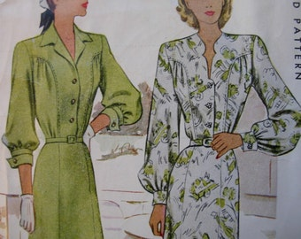 Fabulous Vintage 40's Misses' One Piece Dress Pattern DETAIL TOP-STITCHING