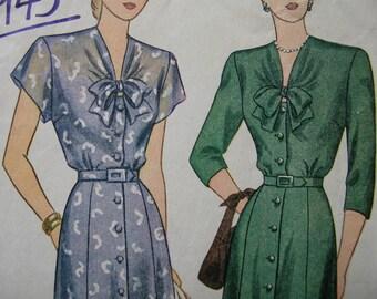 Fabulous Vintage 40's Women's Dress Pattern LOVELY NECK BOW Factory Folded
