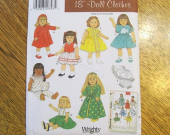 """VINTAGE Doll Wardrobe for 18"""" Dolls - Simplicity ARCHIVES - UNCUT Sewing Pattern Simplicity 4347"""