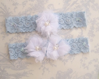Wedding Garter, Blue Lace Garter Set, Toss Garter,  Something Blue, Blue and White Bridal garter
