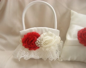 Christmas Flower Girl Basket, Valentine's Day Wedding Ring Pillow Red and Ivory or White