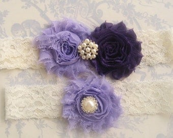 Wedding Garter, Lavender Garter, Toss Garter  Deep Purple and Lavender Rose, Ivory with Rhinestones and Pearls  Custom Wedding colors