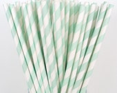 50 MINT GREEN Stripe Paper Straws DIY Flags Paper Drinking Straws Princess Cake Pop Sticks Party Paper Straws Elegant - DimeStoreBuddy