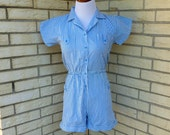 1980s Vintage Jumper Romper Short Outfit Blue White Stripes Womens Vintage Small