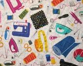 Retro Sewing Items Machine Tape Measure White Cotton Fabric Fat Quarter or Custom Listing