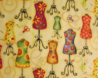 Dress Forms Mannequins Beige Yellow Flowers Cotton Fabric Fat Quarter or Custom Listing