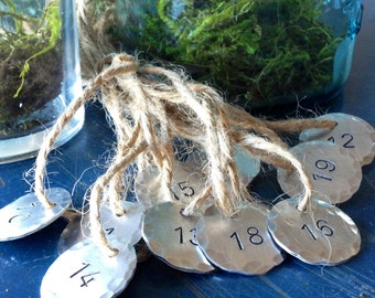 Hand Stamped Metal Numbers, Metal Number, large number, charm, tag, label