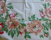 Reserved for Rain Vintage Tablecloth Peonies Pink Coral for your Holiday Thanksgiving table Winter Wedding