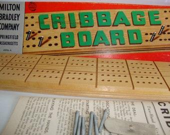 Vintage Cribbage Board,  Wooden Cribbage Board, Card Game