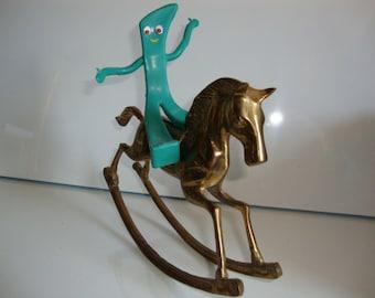 Vintage Brass Rocking Horse, Toy Rocking Horse, Brass Horse