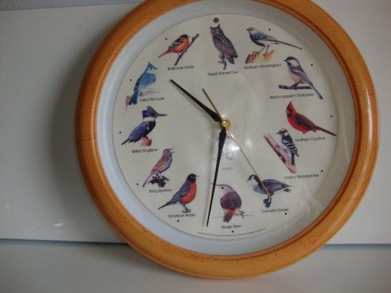 Vintage Audubon Wall Clock Bird Calls Sounds Tweet Chirp Hoot