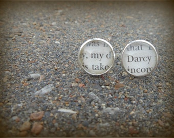 LAST PAIR ~ Silver Plated Pride and Prejudice Stud Earrings (My / Darcy)