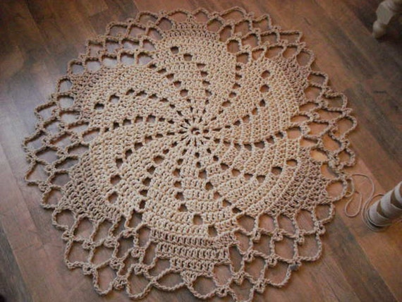 Items similar to Crochet Rope Cord Giant Doily Rug 100% ...