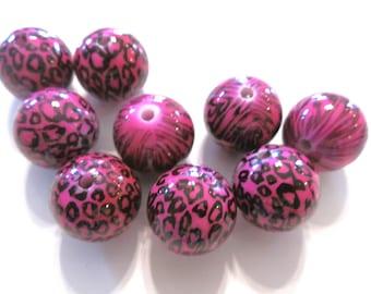 5  Fuschia  Leopard Acrylic Round Beads 25mm