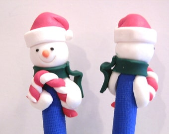New Cute Polymer Fimo Clay Winter Snowman Candy Cane Pen