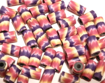 20 Fimo Polymer Clay Tube Beads Abstract Red Purple Yellow  Beads