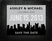 Set of 20 Columbus, Ohio Skyline Wedding Save the Date Postcards